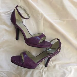 Fioni thin band purple open toe ankle strap heels